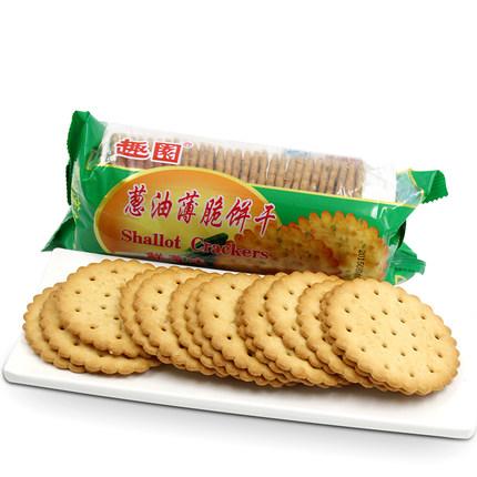 趣园甜薄脆饼干215(香葱味)袋装厂家批发