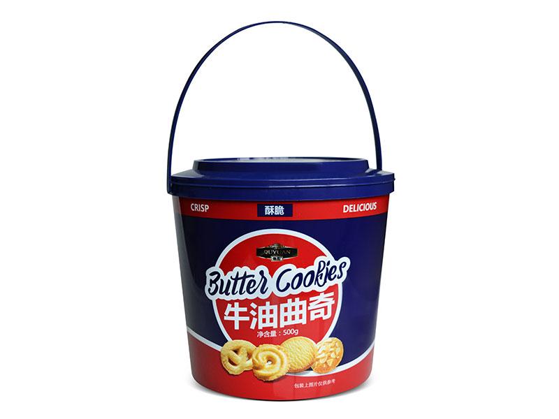 趣园休闲饼干批发500克牛油曲奇胶桶装礼盒饼干