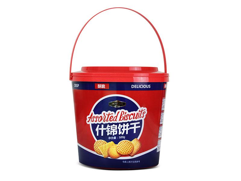 年货礼盒装趣园休闲饼干500克什锦饼干手提胶桶装
