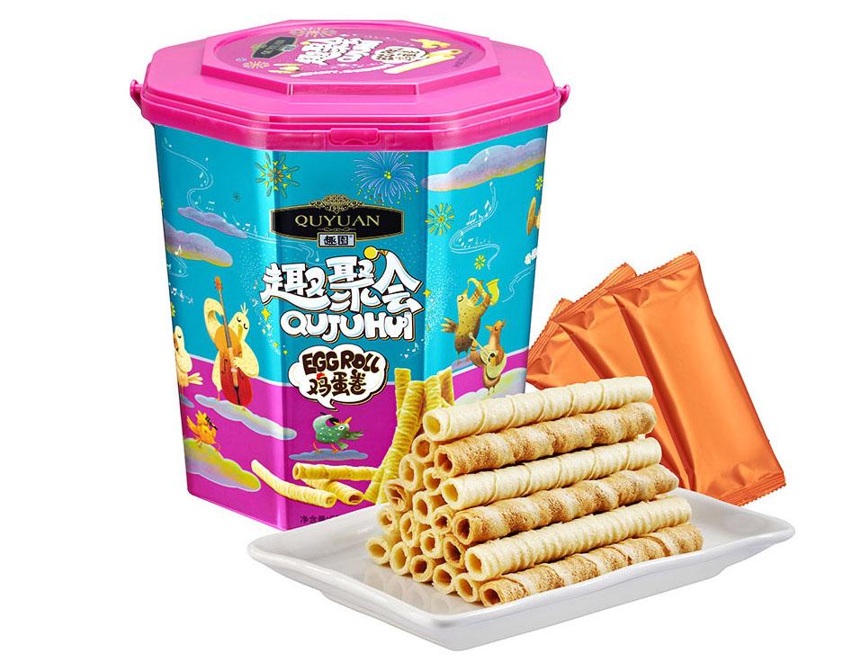 趣园胶罐装礼盒年货鸡蛋卷  厂家贴牌代工蛋卷 广东饼干蛋卷生产厂家 整箱批发