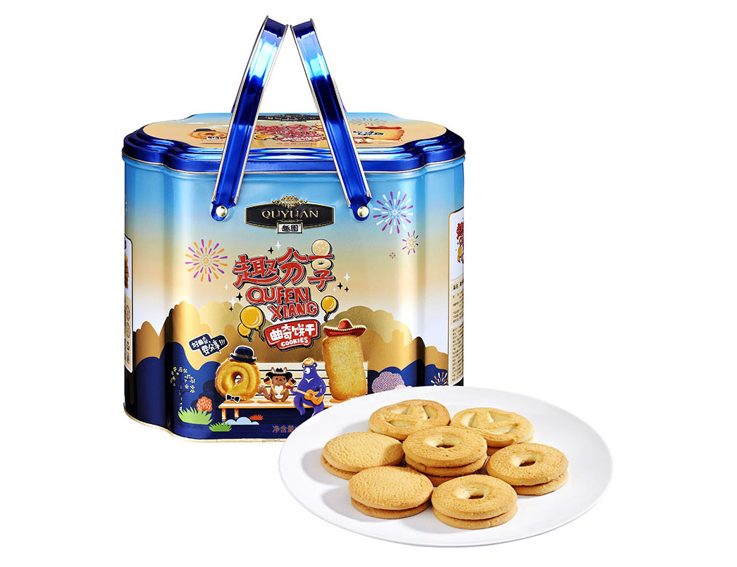 趣园礼盒铁罐装800g奶油饼干整箱批发