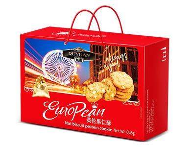 趣园饼干厂家批发年货礼品908g英伦果仁酥