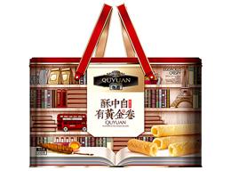 饼干生产厂家趣园蛋卷 黄金卷500g礼盒装手提铁罐直销批发