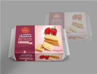 整箱草莓味梳打夹心饼干270克零售批发