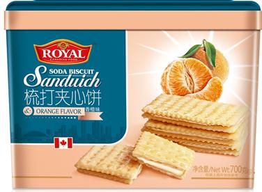 进口香橙味梳打夹心饼干700克