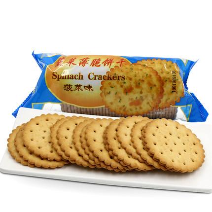 215克趣园甜薄脆饼干(菠菜味)袋装厂家批发