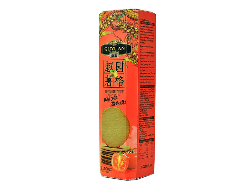 趣园厂家批发直销番茄味薯格饼干108克整箱起批