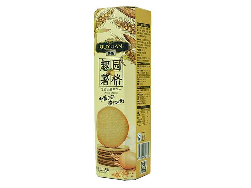 生产厂家直销趣园麦香味薯格饼干108克休闲食品